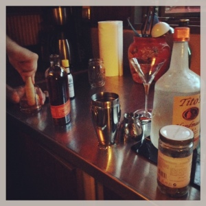 Martini making.